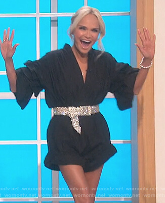 Kristin Chenoweth's black puff sleeve romper on The Talk