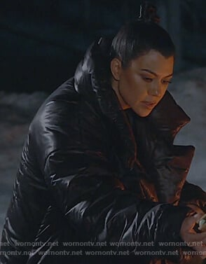 Kourtney's black puffer coat on Keeping Up with the Kardashians