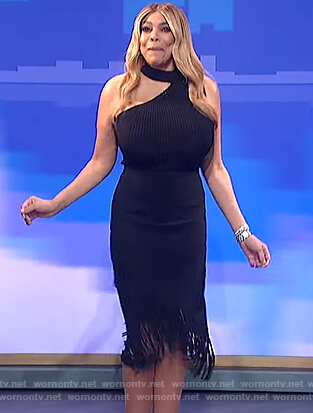 Wendy's black ribbed cutout top and skirt on The Wendy Williams Show
