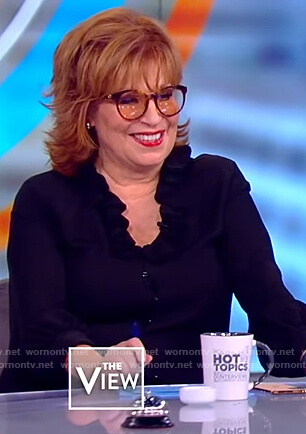 Joy's black ruffled collar blouse on The View