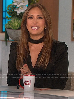 Carrie's black satin cutout top on The Talk
