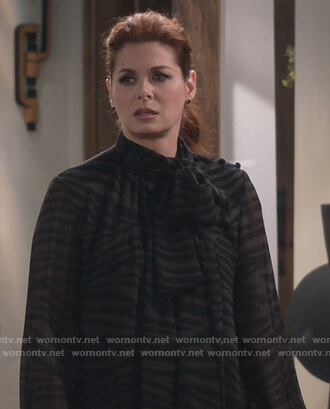 Grace's black zebra stripe tie neck blouse on Will and Grace