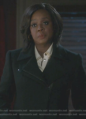 Annalise's black zip down coat on How to Get Away with Murder