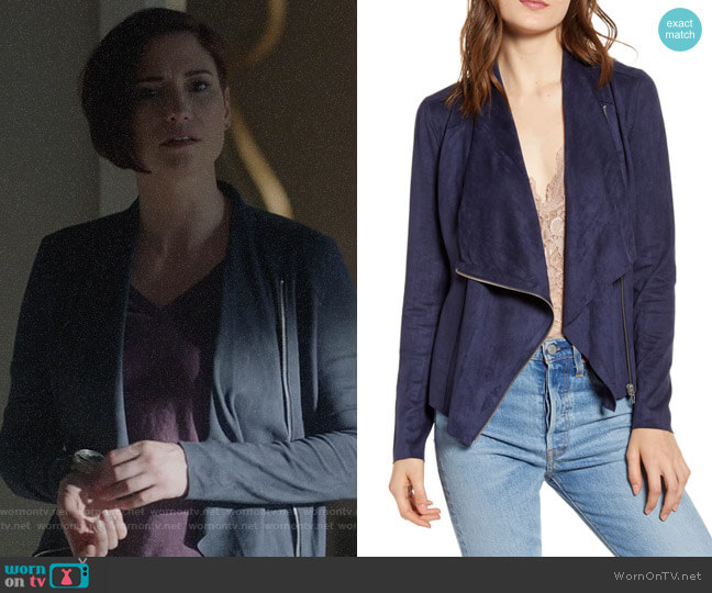 Blank NYC Faux Suede Drape Front Jacket worn by Alex Danvers (Chyler Leigh) on Supergirl