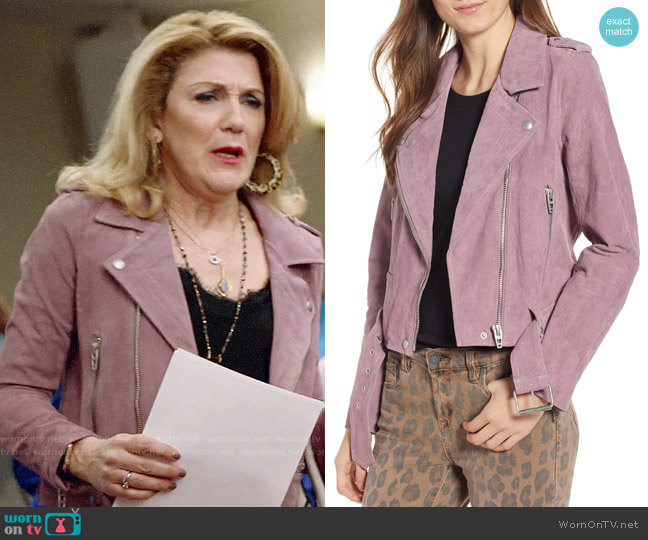 Blank NYC Lilac Suede Moto Jacket worn by Diane on Almost Family worn by Diane Doyle (Victoria Clark) on Almost Family
