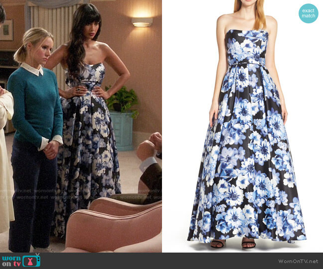 Blondie Nites Floral Print Strapless Satin Evening Dress worn by Tahani Al-Jamil (Jameela Jamil) on The Good Place