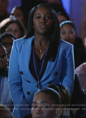 Michaela's blue double breasted blazer on How to Get Away with Murder