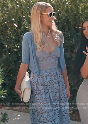 Paris Hilton's blue floral lace dress on Keeping Up with the Kardashians