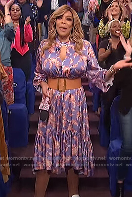 Wendy's purple floral cutout dress on The Wendy Williams Show
