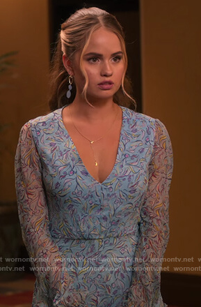 Patty's blue floral v-neck dress on Insatiable