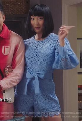 Mei's blue daisy lace romper on Sunnyside