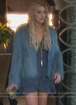 Gina's blue leopard dress and fur jacket on The Real Housewives of Orange County