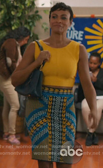 Angela's knit skirt and yellow tank top on American Housewife