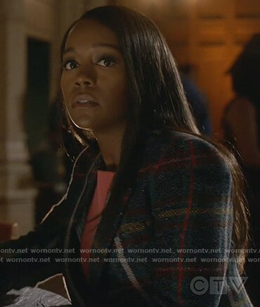 Michaela's blue plaid wool coat on How to Get Away with Murder