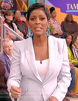 Tamron's blue blazer and pants on Tamron Hall Show