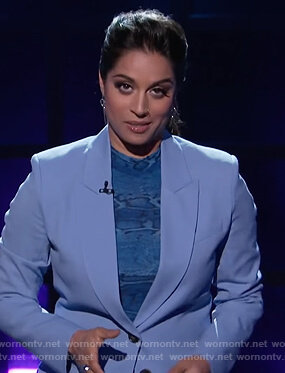 Lilly's blue snakeskin print top on A Little Late with Lilly Singh