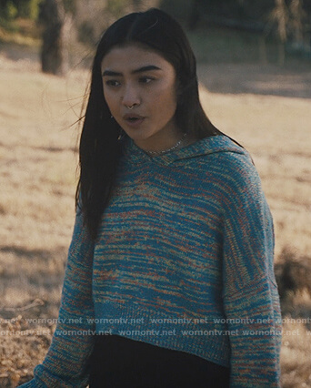 Alex's blue space dye hoodie on Light as a Feather