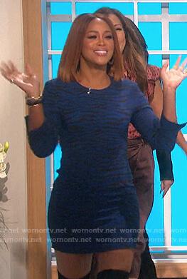 Eve's blue tiger stripe mini dress on The Talk