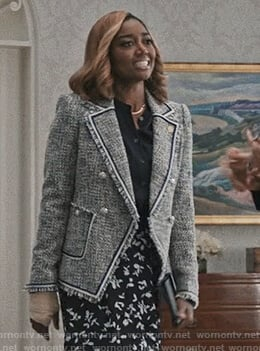 Daisy's blue tweed blazer on Madam Secretary