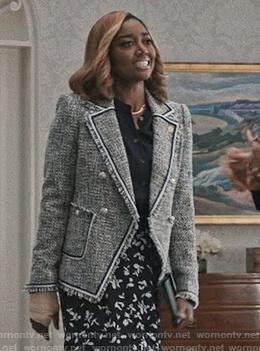 Daisy's blue tweed blazer on Madam Secretary
