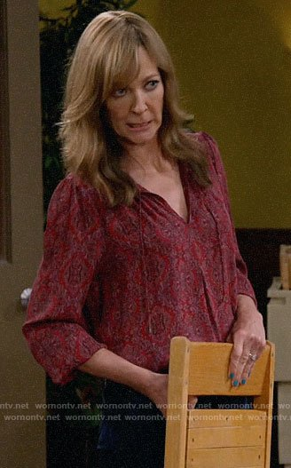 Bonnie's red printed blouse on Mom