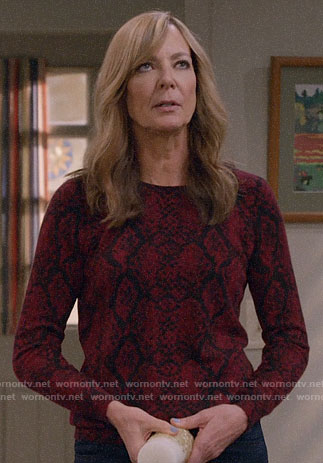 Bonnie's red snake print sweater on Mom