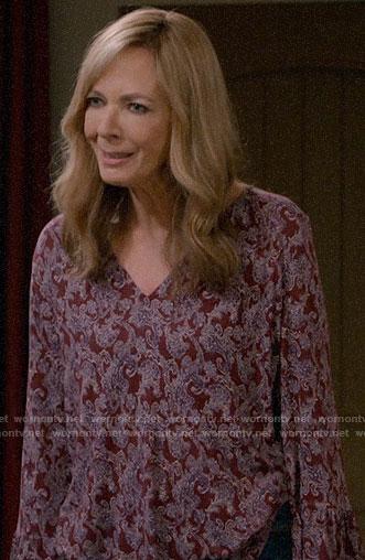 Bonnie's burgundy printed v-neck top on Mom