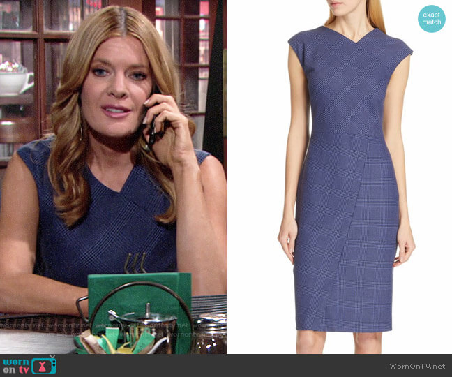 BOSS Dechesta Glen Plaid Sheath worn by Phyllis Summers (Michelle Stafford) on The Young & the Restless