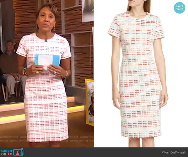 Decka Cotton Blend Tweed Dress by Boss worn by Robin Roberts  on Good Morning America