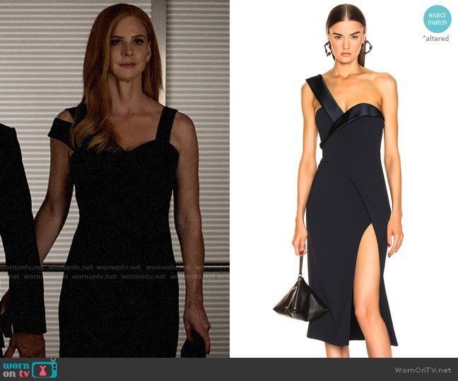Brandon Maxwell One Shoulder Cocktail Dress worn by Donna Paulsen (Sarah Rafferty) on Suits