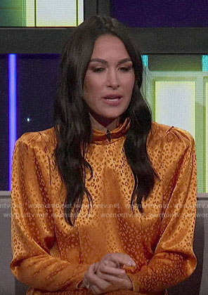 Brie Bella's yellow leopard dress on A Little Late with Lilly Singh