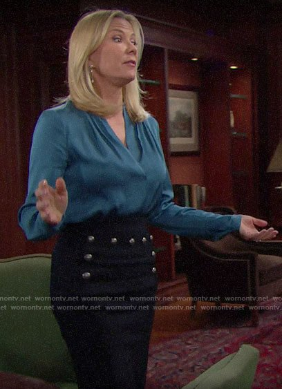 Brooke's blue blouse and button detailed skirt on The Bold and the Beautiful