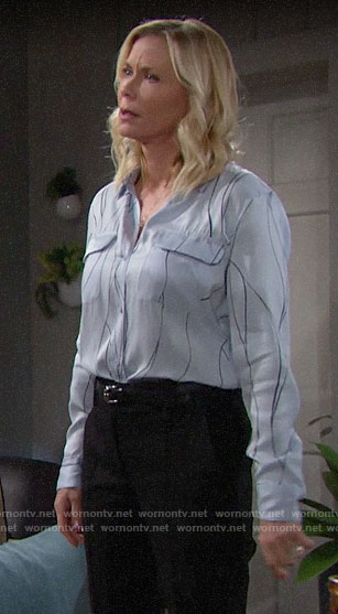 Brooke's light blue line print blouse on The Bold and the Beautiful