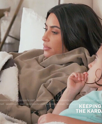 Kim's beige calabasas print sleeve hoodie on Keeping Up with the Kardashians