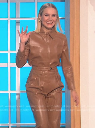 Kristen Bell's brown leather shirt and pants on The Talk