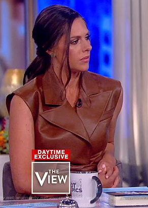 Abby's brown leather belted dress on The View
