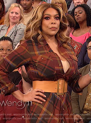 Wendy's brown plaid shirtdress on The Wendy Williams Show