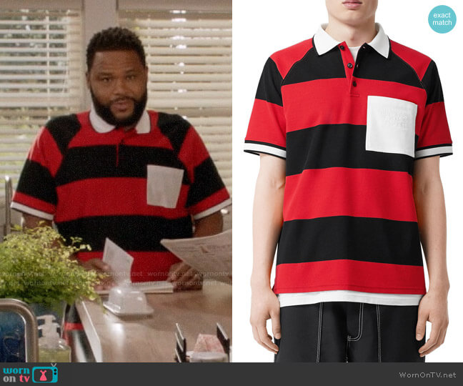 Burberry Barley Striped Polo Shirt worn by Andre Johnson (Anthony Anderson) on Blackish