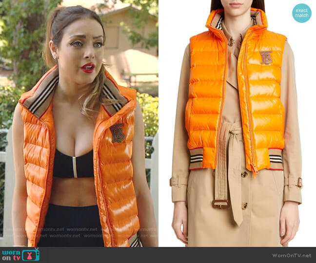 Hessle Monogram Logo Quilted Down Vest by Burberry  worn by Fallon Carrington (Elizabeth Gillies) on Dynasty