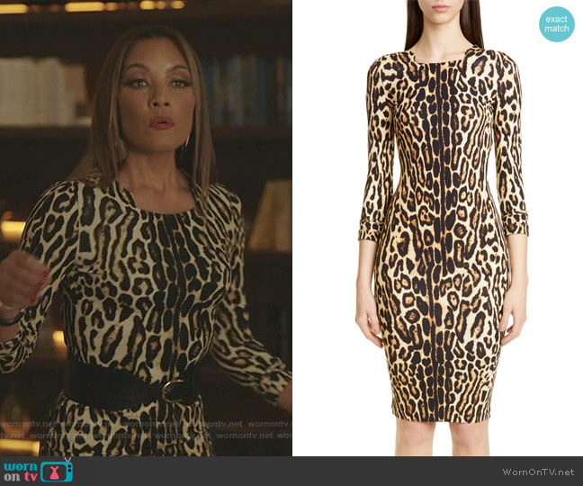 Leopard Print Body-Con Dress by Burberry worn by Dominique Deveraux (Michael Michele) on Dynasty