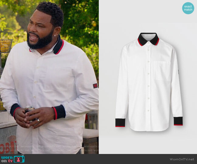 Burberry Knitted Detail Cotton Oxford Oversized Shirt worn by Andre Johnson (Anthony Anderson) on Blackish