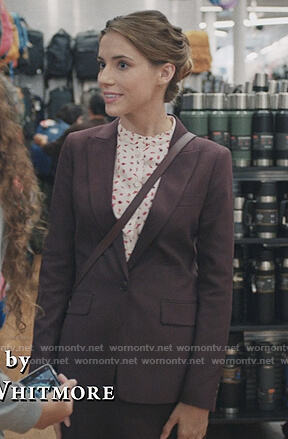 Stevie's print blouse and burgundy blazer on Madam Secretary