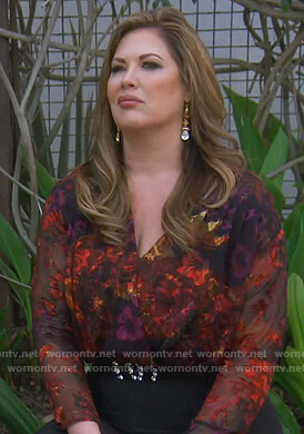 Emily's mesh floral bodysuit on The Real Housewives of Orange County