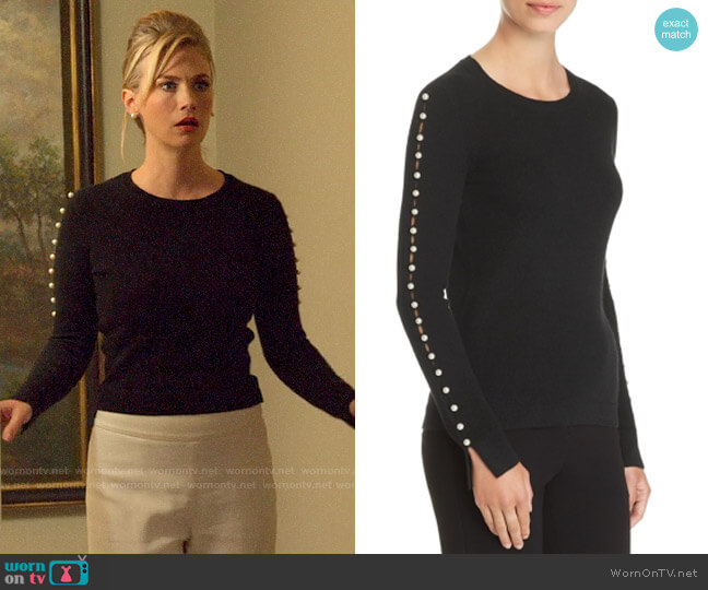 C by Bloomingdales Embellished-Sleeve Cashmere Sweater worn by Lizbeth Sloan (January Jones) on The Politician