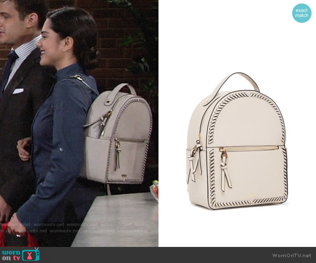 Calpak Kaya Faux Leather Round Backpack worn by Lola Rosales (Sasha Calle) on The Young & the Restless