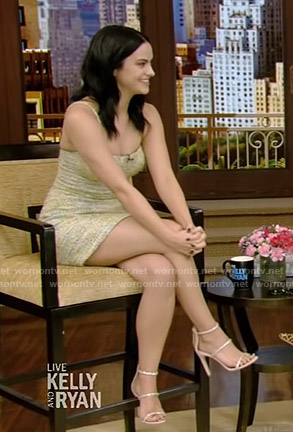 Camila Mendes's tweed mini dress on Live with Kelly and Ryan
