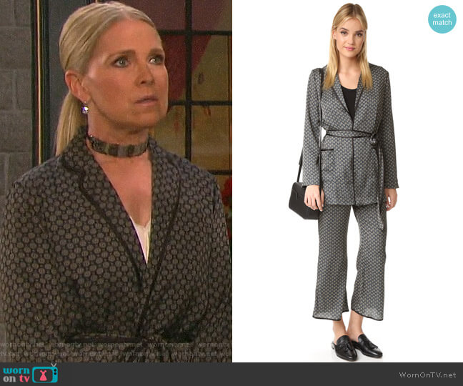 Capulet Zsa Zsa Smoking Jacket and Trousers worn by Jennifer Horton (Melissa Reeves) on Days of our Lives