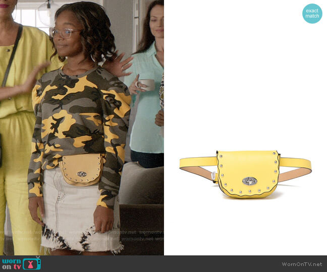 Cara Accessories Studded Saddle Belt Bag worn by Diane Johnson (Marsai Martin) on Blackish