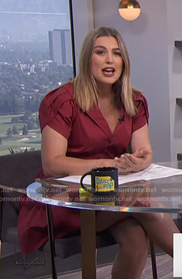 Carissa's red cap sleeve shirtdress on E! News