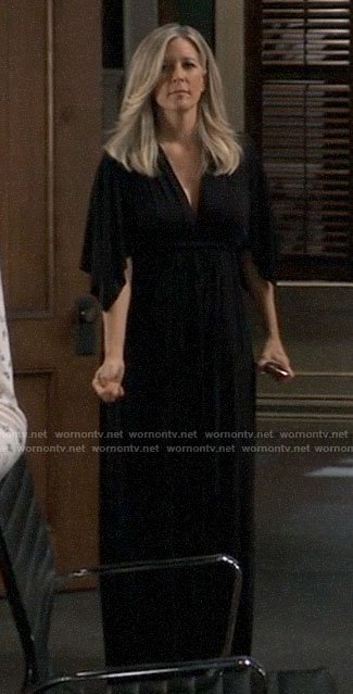 Carly's black maxi dress on General Hospital